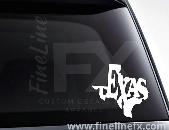 Texas State Word Art Vinyl Decal Sticker - FineLineFX