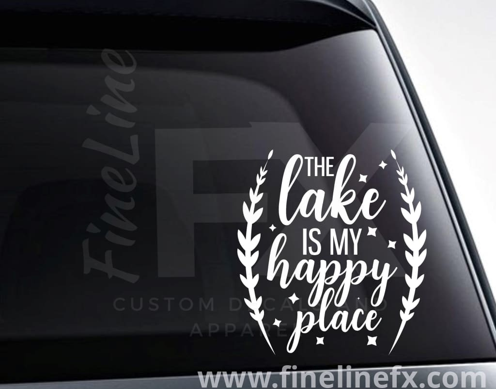 The Lake Is My Happy Place Laurel Wreath Vinyl Decal Sticker