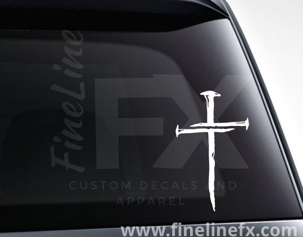 Three Nails Cross Vinyl Decal Sticker