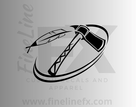 Native American Tomahawk And Feather Vinyl Decal Sticker