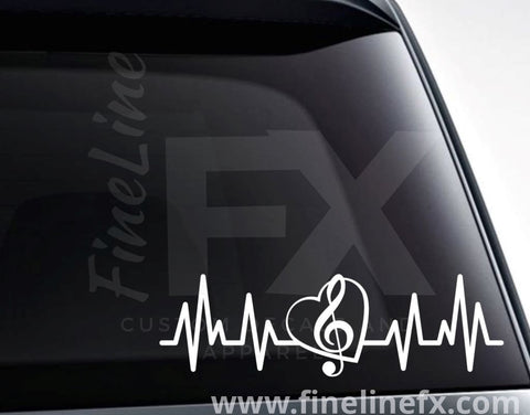 Treble Clef EKG Heartbeat Vinyl Decal Sticker