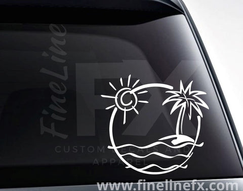 Tropical Island Vinyl Decal Sticker
