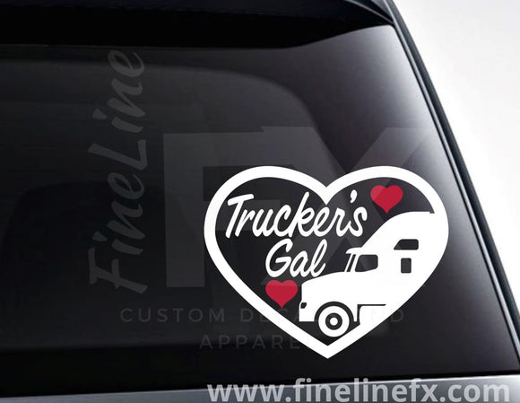 Trucker's Gal Vinyl Decal Sticker - FineLineFX
