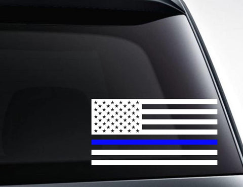 USA American Flag with Blue Line for Police Support Vinyl Decal Sticker