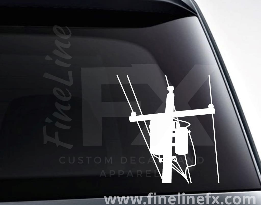 Utility Pole Electric Power Lines Vinyl Decal Sticker