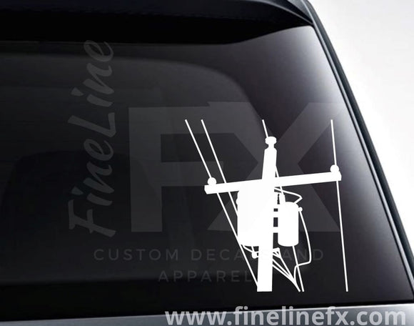 Utility Pole Electric Power Lines Vinyl Decal Sticker - FineLineFX