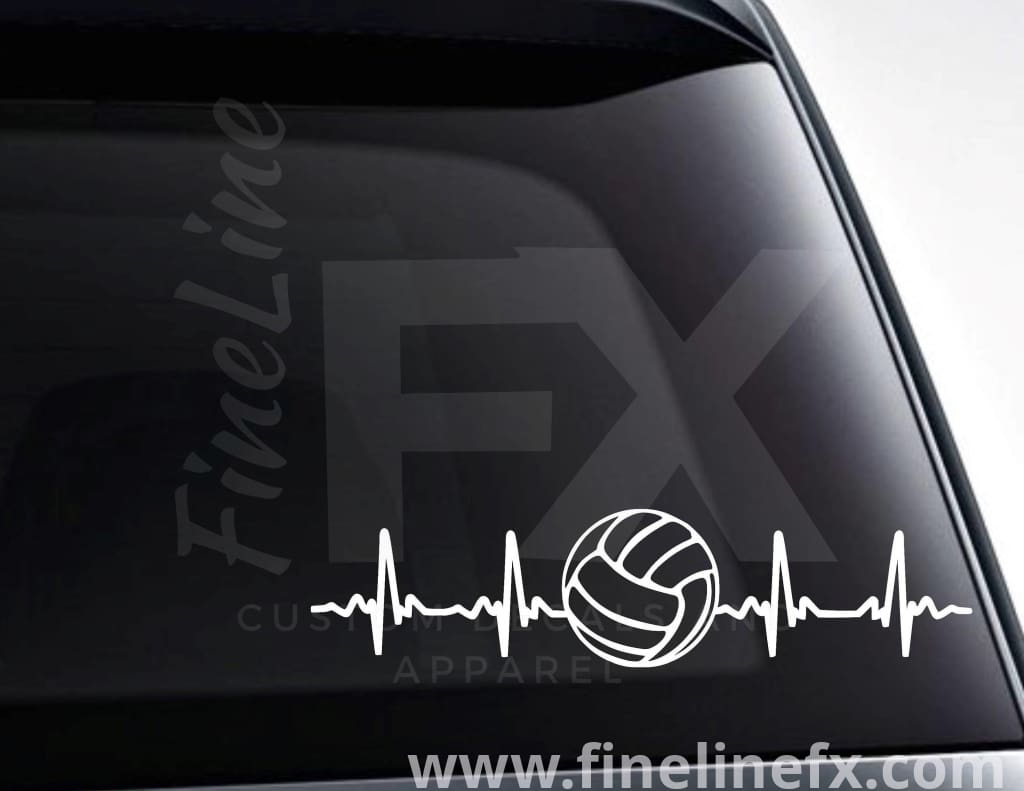 Volleyball EKG Heartbeat Vinyl Decal Sticker