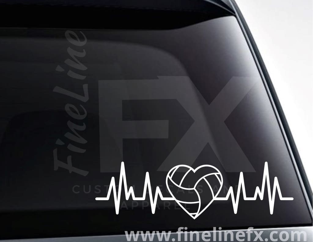 Volleyball Heart EKG Heartbeat Vinyl Decal Sticker