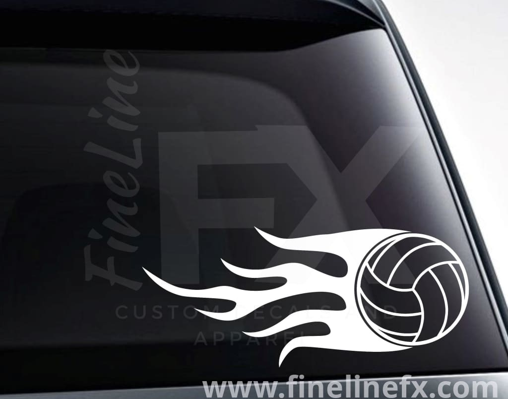 Volleyball With Flames Vinyl Decal Sticker
