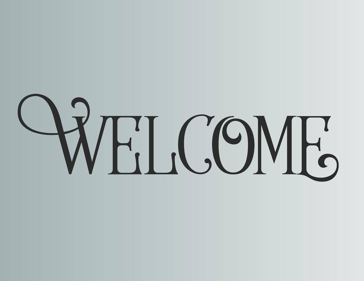 Welcome Fancy Typography Front Door Die Cut Vinyl Wall Decal Sticker