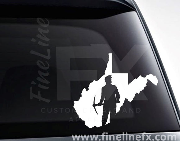West Virginia Coal Miner Vinyl Decal Sticker - FineLineFX