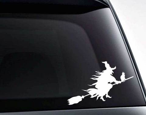 Witch And Black Cat On A Broomstick Vinyl Decal Sticker