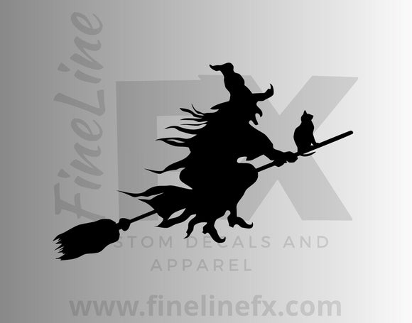 Witch And Black Cat On A Broomstick Vinyl Decal Sticker - FineLineFX
