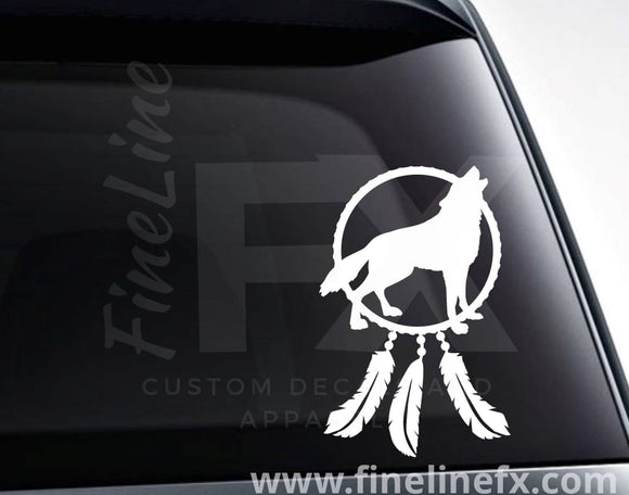 Wolf Dream Catcher Vinyl Decal Sticker - FineLineFX