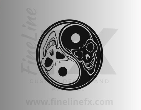 Yin Yang Skulls Vinyl Decal Sticker