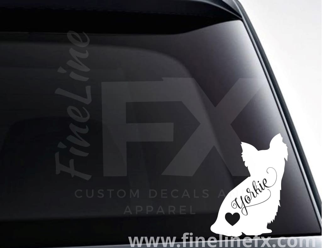 Yorkie Dog With Heart Vinyl Decal Sticker