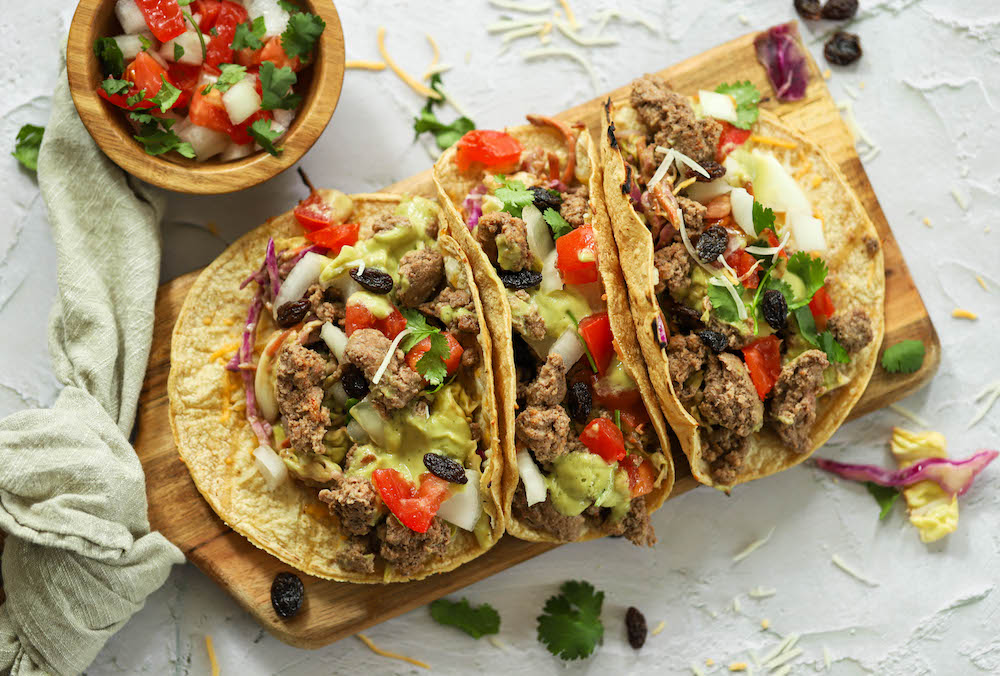Lamb Tacos with Tequila Soaked Vine-Dried Grapes