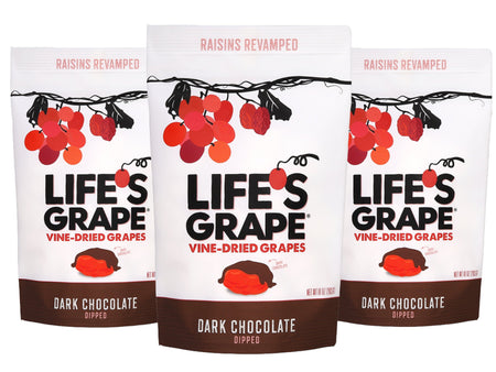 dark chocolate dipped vine-dried grapes | resealable (3) 10 oz pouches
