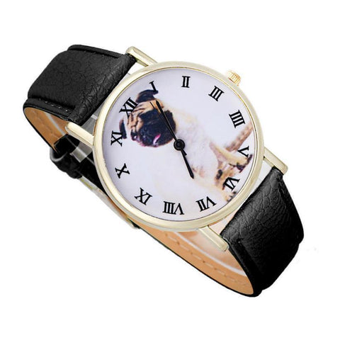 Leather Quartz Pug Wrist Watch for Women