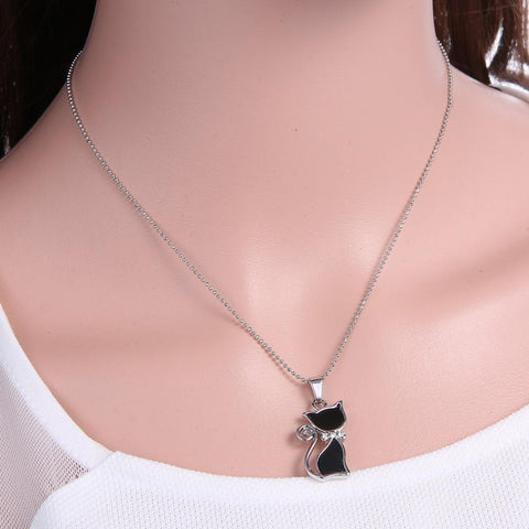 Silver Plated Rhinestone Crystal Cat Necklace