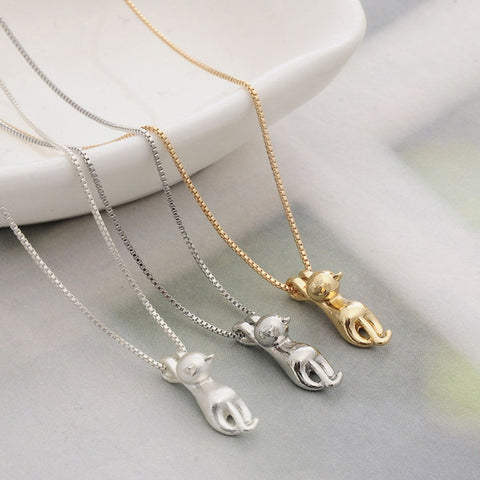 Climbing Cat Pendant Necklace