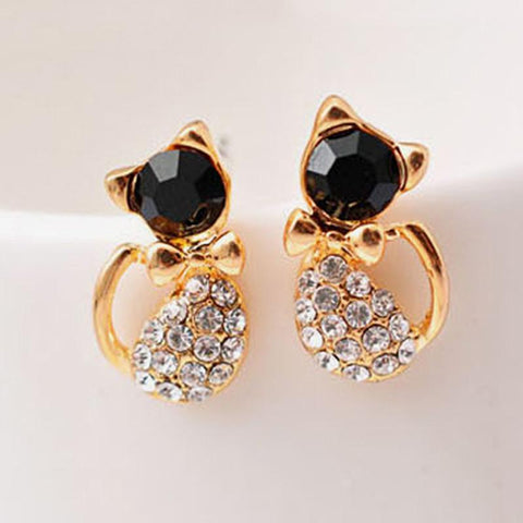 Crystal Gem Cat Bow Stud Earrings