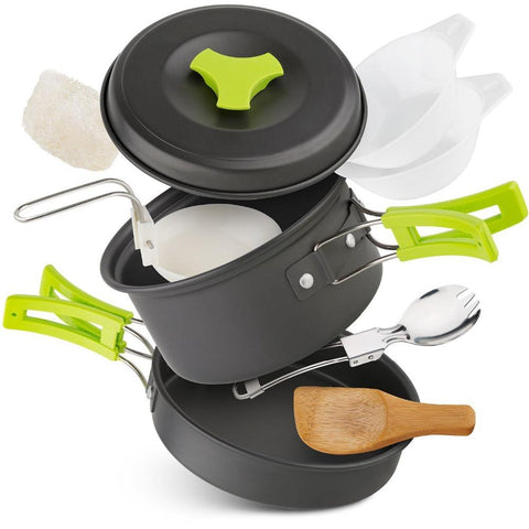 Lightweight Camping Cookware - 10 Piece Set