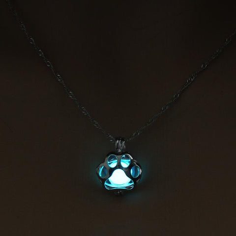 Glow in the Dark Paw Pendant Necklace