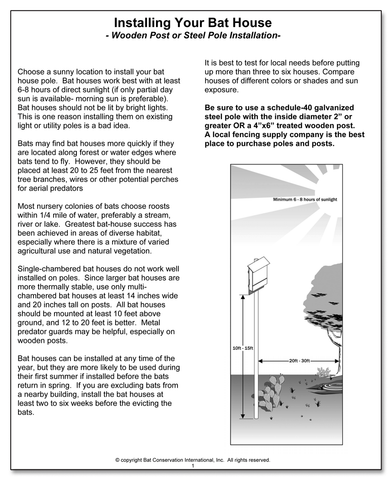 Installing Your Bat House on a Post or Pole pamphlet cover with pdf link