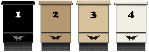Four bat houses representing the four paint colors