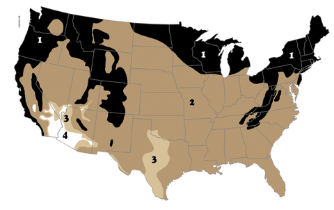 US map for four bat house color regions