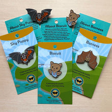 Three enamel pins with colorful cardboard backing describing each bat character