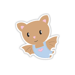 Cute baby bat cartoon sticker wearing overalls with a heart stitched on the front