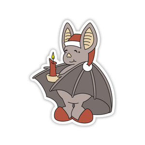Cozy-looking bat wearing slippers and a nightcap and holding a candle