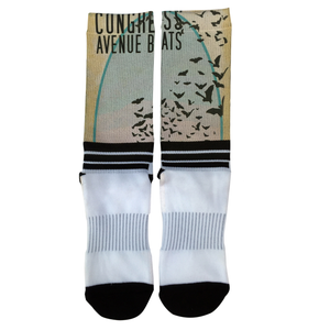 Congress Avenue Bats socks with tan/grey motif and silhouette of black bats flying