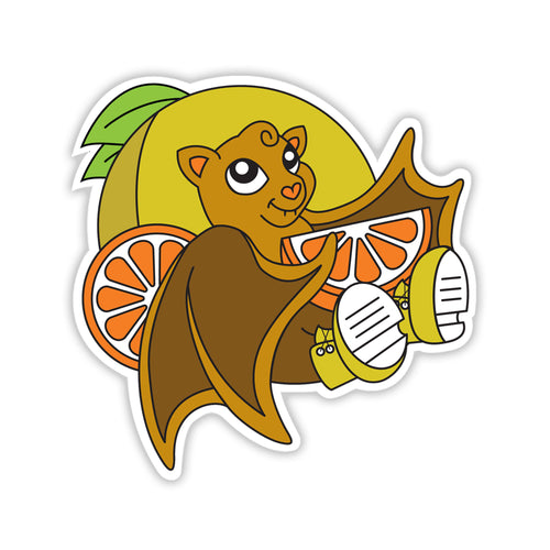 Sneaker-wearing bat leaning against a grapefruit and holding a slice of orange