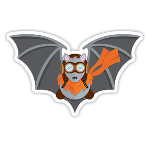 Cute aviator bat cartoon sticker wearing World War 2 goggles and an orange scarf to match the fur around his neck