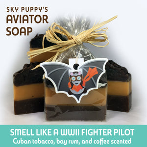Aviator soap bars featuring one packaged with raffia ribbon and Sky Puppy sticker
