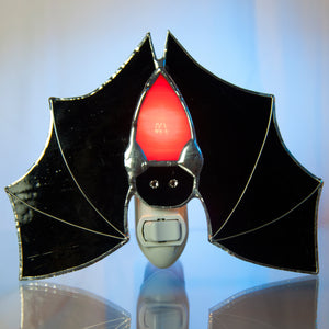 Batness Night Light: Black and Red Stained Glass