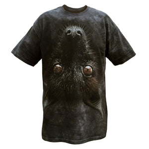 Smoky black t-shirt of giant upside down flying fox head