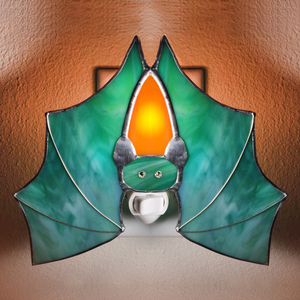 Batness stained glass night light in green and orange with crystal eyes
