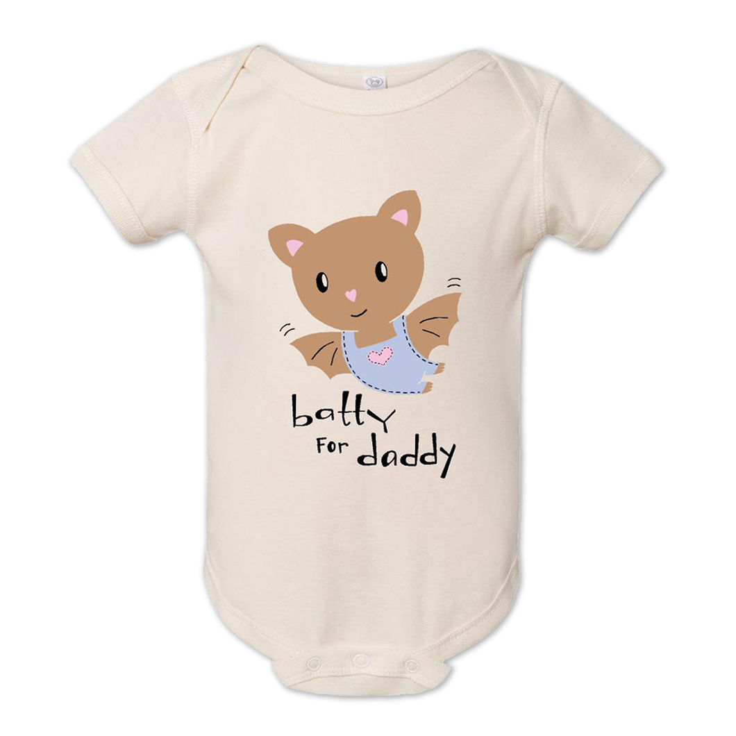 Baby bodysuit wit a cute baby bat and the words batty for daddy underneath
