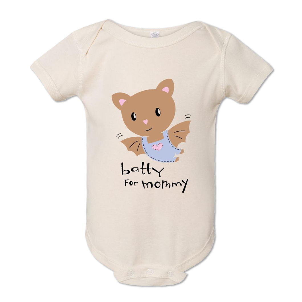 Baby bodysuit wit a cute baby bat and the words batty for mommy underneath