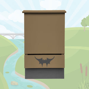 Small single-chambered bat house built by Austin Batworks over an illustrated background