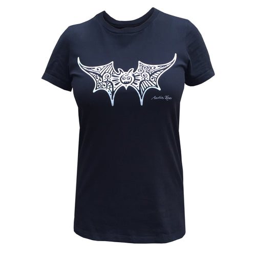 Black women's short sleeve crew neck with decorative bat graphic