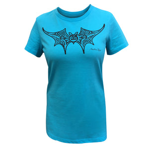 Turquoise women's short sleeve crew neck with decorative bat graphic