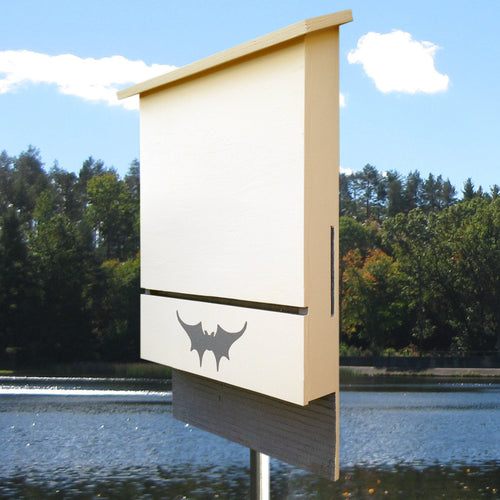 Austin Batworks' three-chambered bat box with a lake in the background