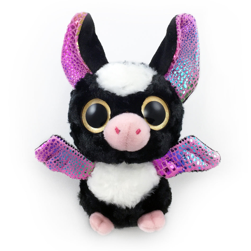 Stuffed panda bat with glittering oversized eyes and sparkling fabric details