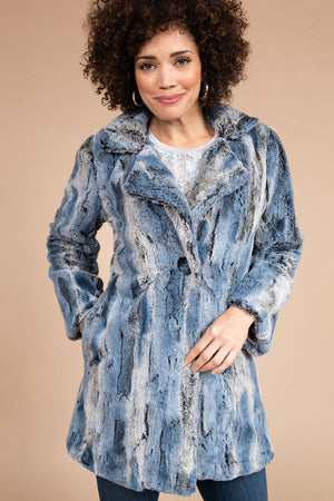 Shades of Blue Faux Fur Jacket