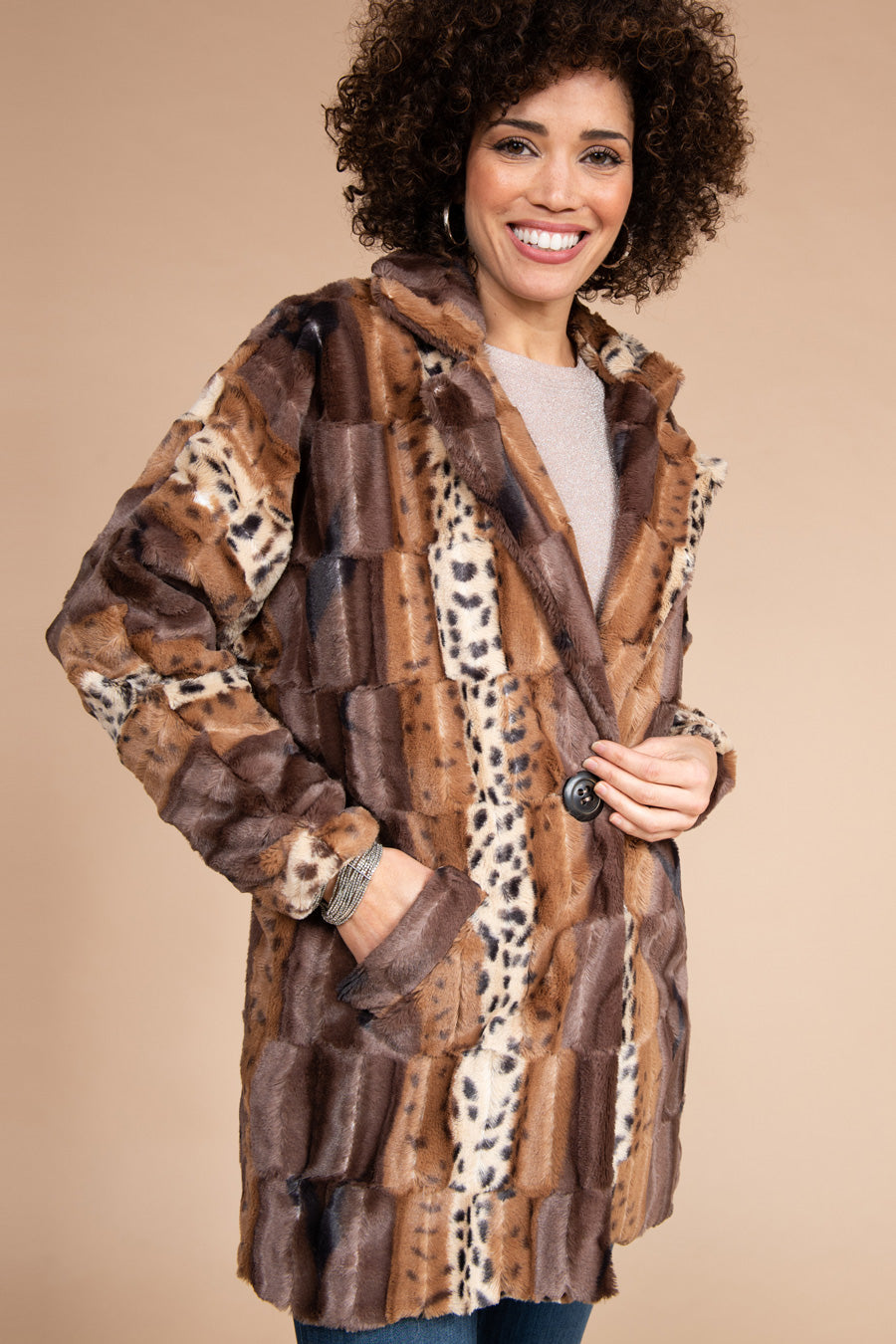 Mixed Leopard Faux Fur Jacket